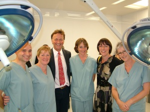 Julia and Andew George MP at St Michael's £6m Breast Cancer theatre